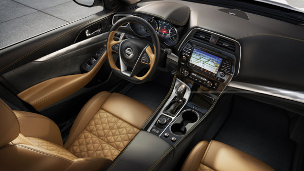 Interior of the 2017 Nissan Maxima showing navigation system