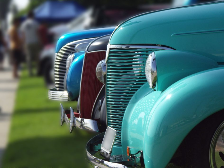 Cars lined up at vintage car show