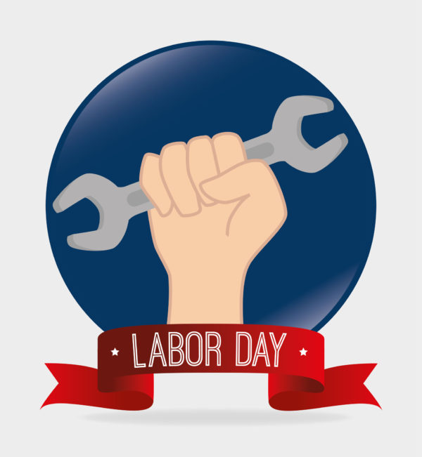Wrench with Labor Day signage