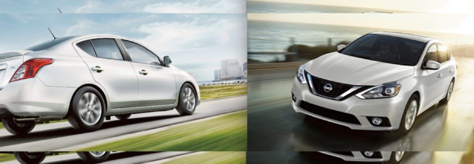 A white 2017 Nissan Versa and a white 2017 Nissan Sentra driving down the road.